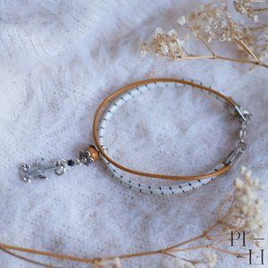 2/40$ bracelet natural fossil & leather western